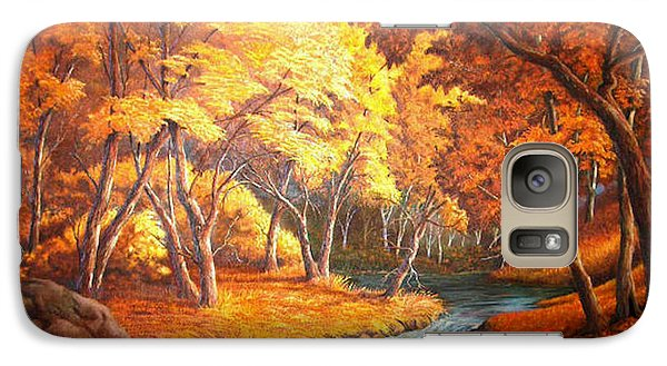 Galaxy Case featuring the painting Country Stream In The Fall by Loxi Sibley