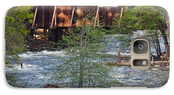 Galaxy Case featuring the photograph Covered Bridge Over The River by Debby Pueschel