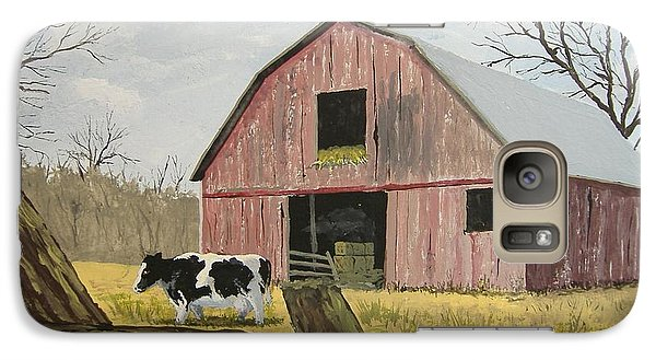 Galaxy Case featuring the painting Cow And Barn by Norm Starks