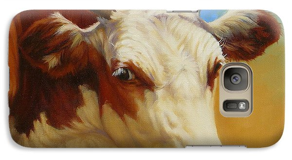 Galaxy Case featuring the painting Cow Face by Margaret Stockdale