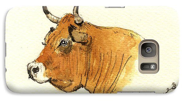 Bull Galaxy S7 Case - Cow Head Study by Juan  Bosco