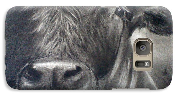 Galaxy Case featuring the drawing Cow View by J L Zarek