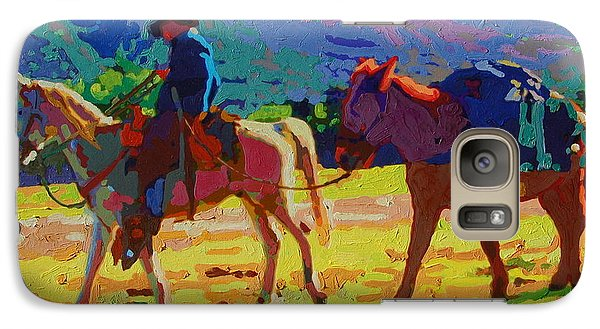Galaxy Case featuring the painting Cowboy And Pack Mule 2 by Thomas Bertram POOLE