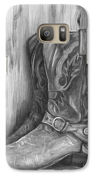 Galaxy Case featuring the drawing Cowboy Boot Study by Meagan  Visser