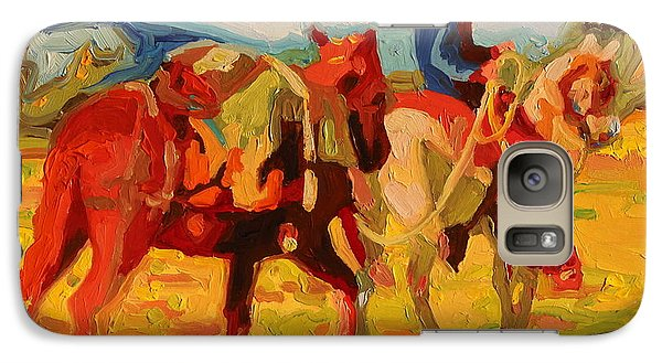 Galaxy Case featuring the painting Cowboy Art Cowboy Leading Pack Horse Painting Bertram Poole by Thomas Bertram POOLE