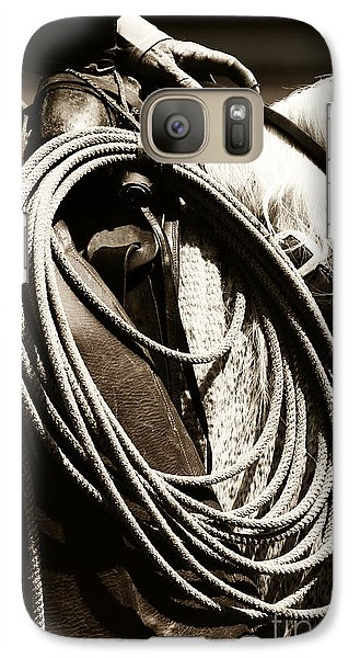 Galaxy Case featuring the photograph Cowboy Rides To Work by Lincoln Rogers