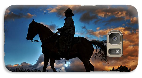 Galaxy Case featuring the photograph Cowboy Silhouette by Ken Smith