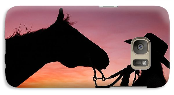 Horse Galaxy S7 Case - Cowgirl Sunset by Todd Klassy