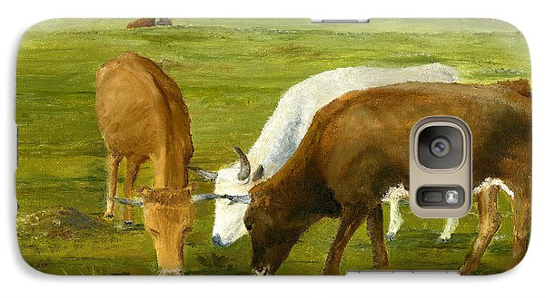 Galaxy Case featuring the painting Cows Gossip Session In Louisiana Pasture by Lenora  De Lude