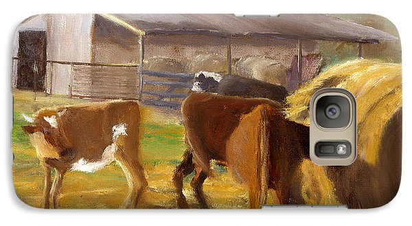 Galaxy Case featuring the painting Cows Hay And Barn In Louisiana by Lenora  De Lude