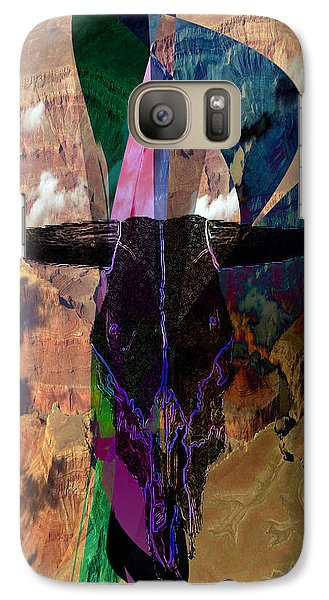 Galaxy Case featuring the digital art Cowskull Over The Canyon by Cathy Anderson