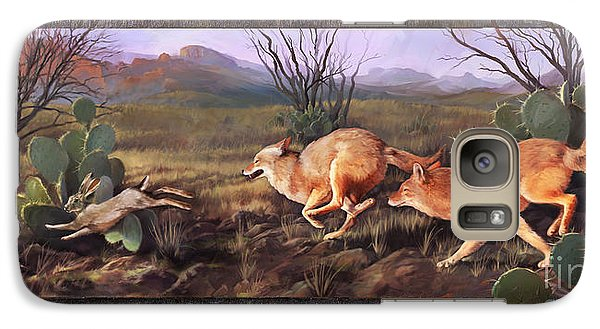 Galaxy Case featuring the painting Coyote Run With Boarder by Rob Corsetti