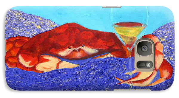 Galaxy Case featuring the painting Crab And Chardonnay by Nancy Jolley