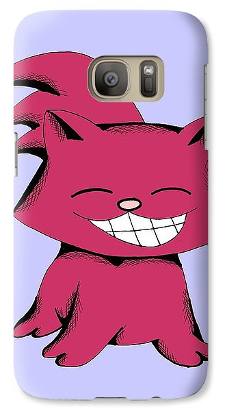 Galaxy Case featuring the drawing Cranberry Cat Giggling by Pet Serrano
