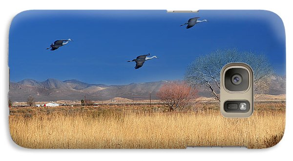 Galaxy Case featuring the photograph Cranes In Flight by Barbara Manis