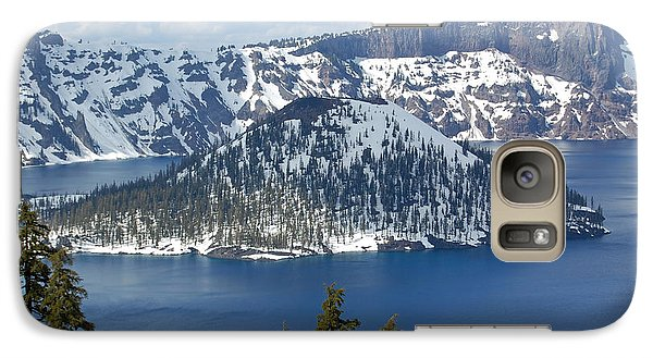 Galaxy Case featuring the photograph Crater Lake With Snow by Debra Thompson