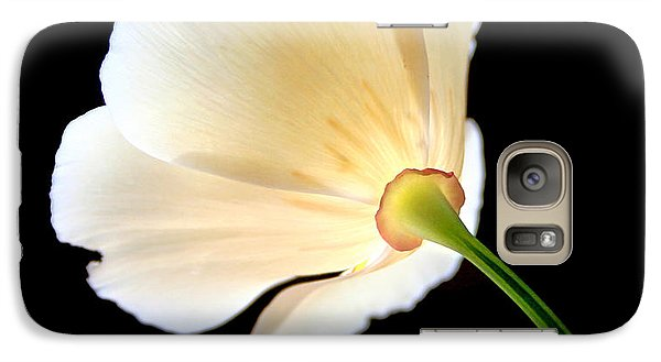 Galaxy Case featuring the photograph Cream Poppy Glow by Michael Rock