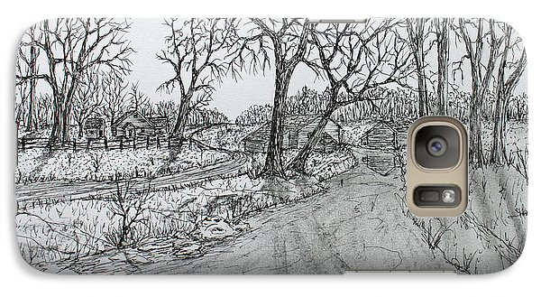 Galaxy Case featuring the drawing Creekside Road by Jack G  Brauer