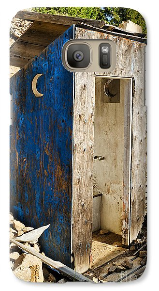 Galaxy Case featuring the photograph Crescent Moon Outhouse by Sue Smith