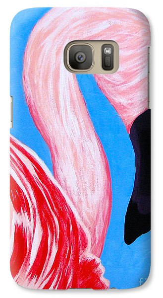 Galaxy Case featuring the painting Crimson Flamingo by Anita Lewis