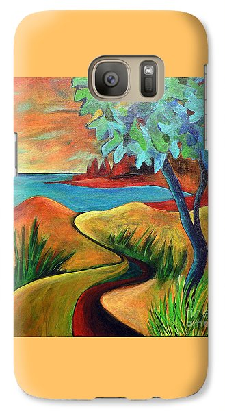 Galaxy Case featuring the painting Crimson Shore by Elizabeth Fontaine-Barr