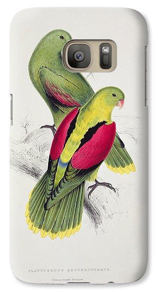 Parakeet Galaxy S7 Case - Crimson Winged Parakeet by Edward Lear