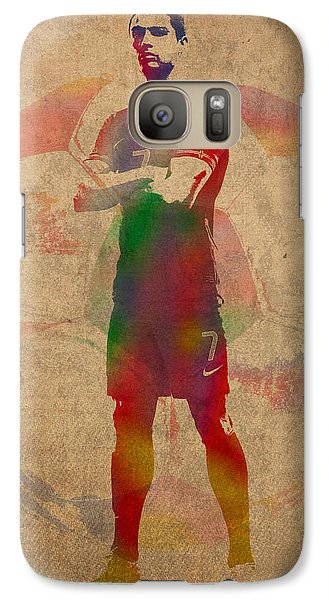 Cristiano Ronaldo Soccer Football Player Portugal Real Madrid Watercolor Painting On Worn Canvas Galaxy Case by Design Turnpike
