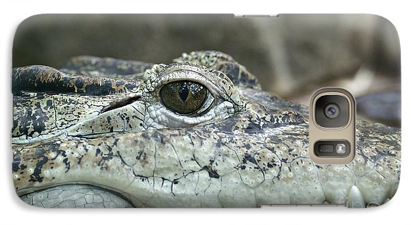 Galaxy Case featuring the photograph Crocodile Animal Eye Alligator Reptile Hunter by Paul Fearn