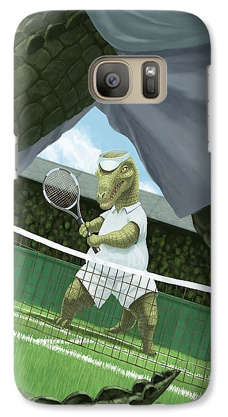 Crocodiles Playing Tennis At Wimbledon  Galaxy Case by Martin Davey