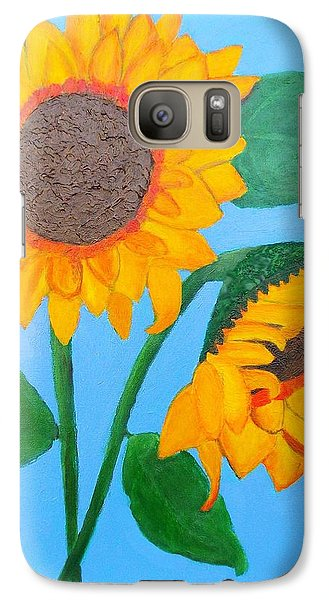 Galaxy Case featuring the painting Crossed Sunflowers by Margaret Harmon