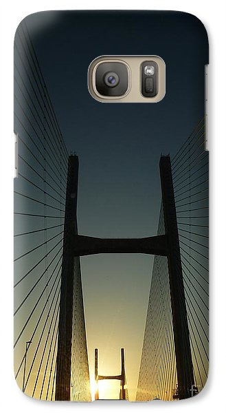 Galaxy Case featuring the photograph Crossing The Severn Bridge At Sunset - Cardiff - Wales by Vicki Spindler