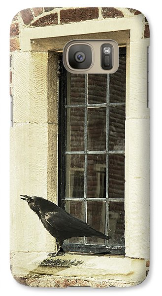 Galaxy Case featuring the photograph Crow On Window Sill by Ethiriel  Photography