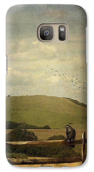 Galaxy Case featuring the photograph Crow Sitting On A Fence by Ethiriel  Photography