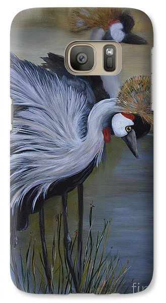 Galaxy Case featuring the painting Crowned Cranes by Nancy Bradley