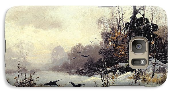 Crows In A Winter Landscape Galaxy Case by Karl Kustner