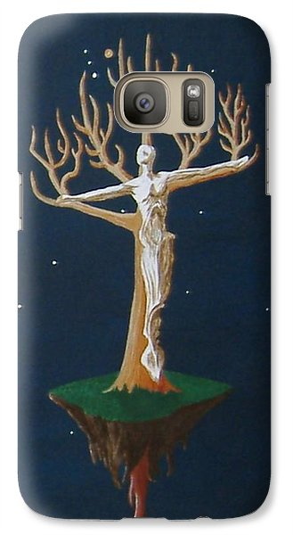 Galaxy Case featuring the painting Crucifix 2 by Steve  Hester