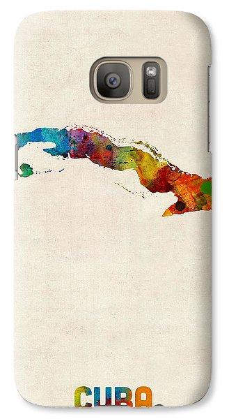 Cuba Watercolor Map Galaxy Case by Michael Tompsett