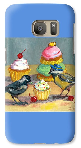 Galaxy Case featuring the painting Cupcakes And Chickadees by Susan Thomas
