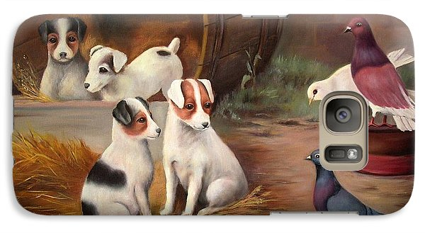 Galaxy Case featuring the painting Curious Friends by Hazel Holland