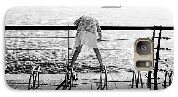 Galaxy Case featuring the photograph Curious Girl By The Sea by Dean Harte