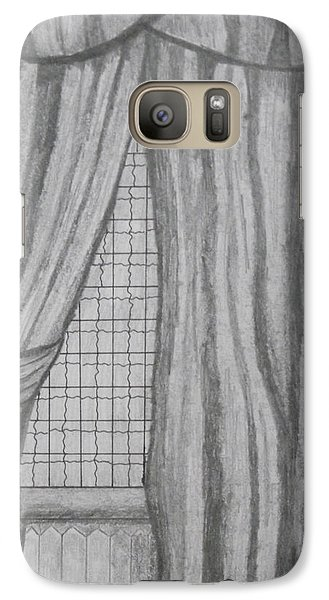 Galaxy Case featuring the drawing Curtains In A5 by Martin Blakeley