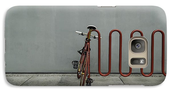 Galaxy Case featuring the photograph Curved Rack In Red - Urban Parking Stalls by Steven Milner