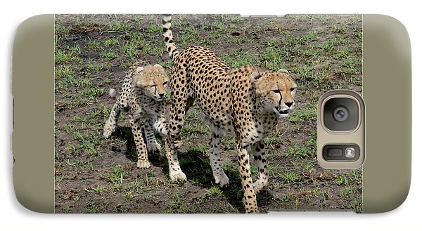 Galaxy Case featuring the photograph Cute Cheetah Wait For Me Mommy by Tom Wurl