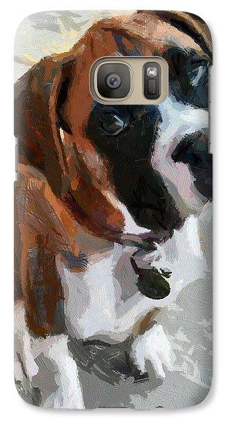 Galaxy Case featuring the painting Cute Dog by Georgi Dimitrov