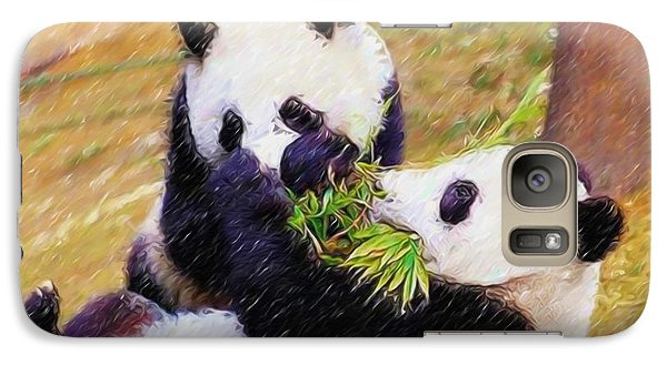 Galaxy Case featuring the painting Cute Pandas Play Together by Lanjee Chee