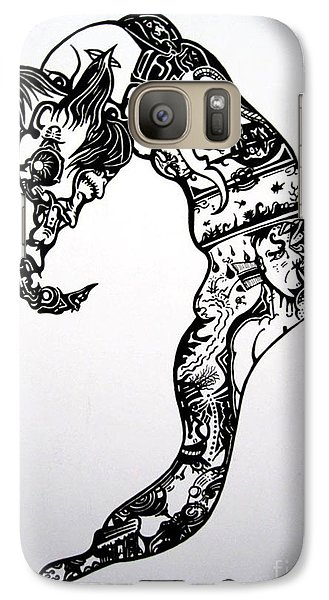 Galaxy Case featuring the drawing Cyberworm by Devin  Cogger