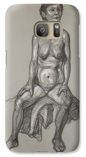 Galaxy Case featuring the drawing Cynthia - Seated Nude by Donelli  DiMaria