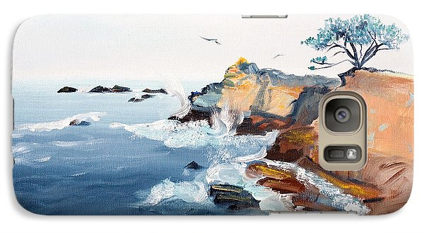 Galaxy Case featuring the painting Cypress And Seagulls by Asha Carolyn Young