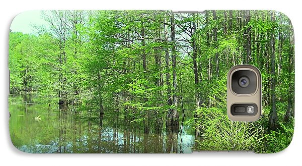 Galaxy Case featuring the photograph Bright Green Cypress Trees Reflection by Belinda Lee