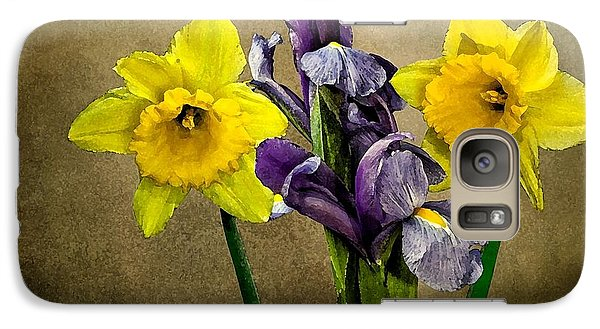 Galaxy Case featuring the photograph Daffodils And Iris by Shirley Mangini